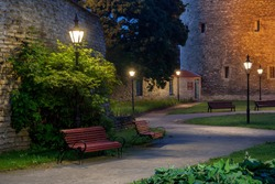 colorful, night Park in Tallinn's old town. White nights in Estonia. View of the city without people. The summer season.