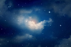 colorful night sky with cloud and stars