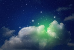 colorful night sky with cloud and stars, science background