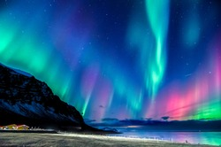 colorful northern light in iceland