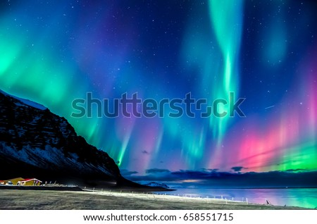 colorful northern light in iceland Stock photo ©