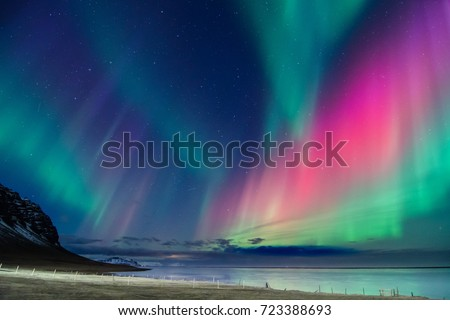 Colorful northern lights in Iceland #723388693