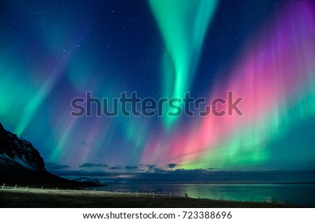 Colorful northern lights in Iceland #723388696