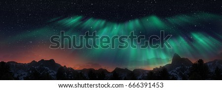 Colorful Northern Lights over starry night sky #666391453