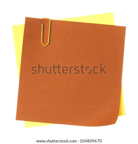 Colorful note paper with clips isolated on white