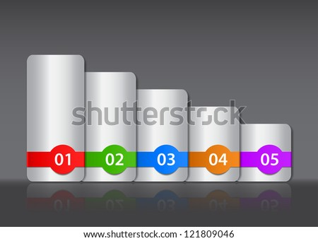 Colorful numbered and metallic design templates with reflection - stock photo