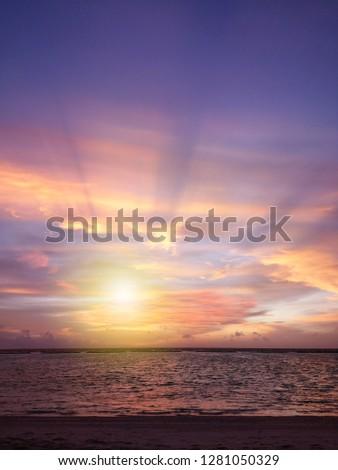Colorful ocean beach sunset .Tropical Maldives beach. #1281050329