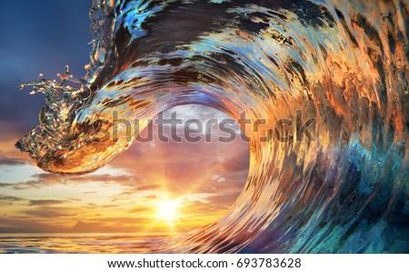 colorful ocean wave. sea water...