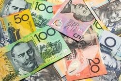 Colorful of Australian dollars money background.