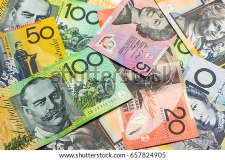 Colorful of Australian dollars money background. #657824905