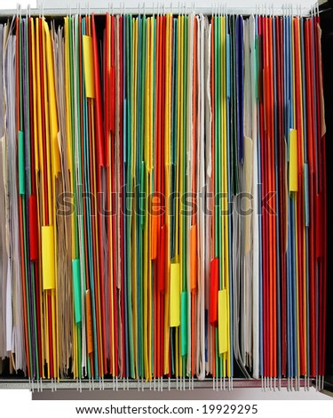 Colorful of file folder in the hanger