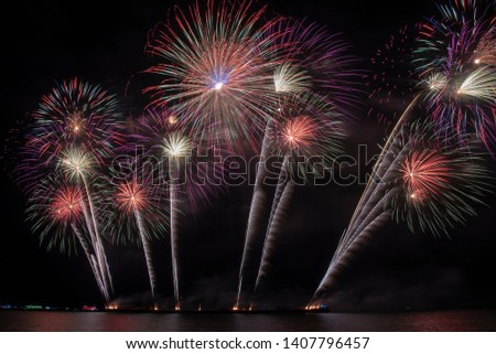 Colorful of fireworks in holiday festival from Pattaya Chonburi Thailand  #1407796457
