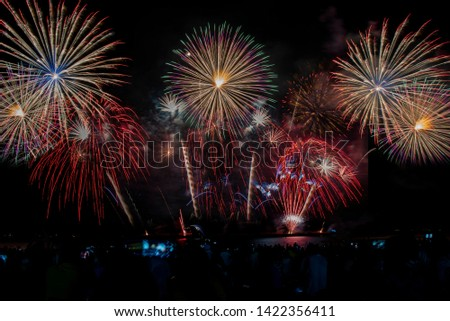 Colorful of fireworks in holiday festival from Pattaya Chonburi Thailand  #1422356411