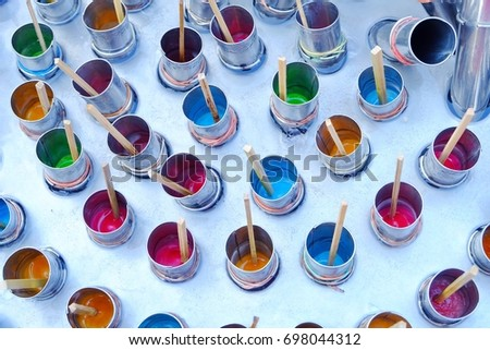 Colorful of ice cream with wooden stick by traditional Thai styles #698044312