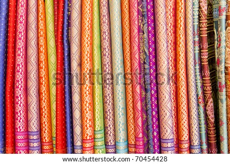 colorful of native thai style silk