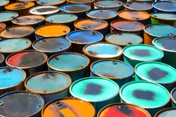 Colorful of oil barrels or chemical steel drums