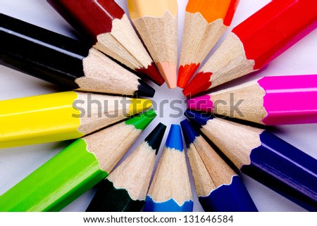 Colorful of pencils in concept all for one ,team work concept