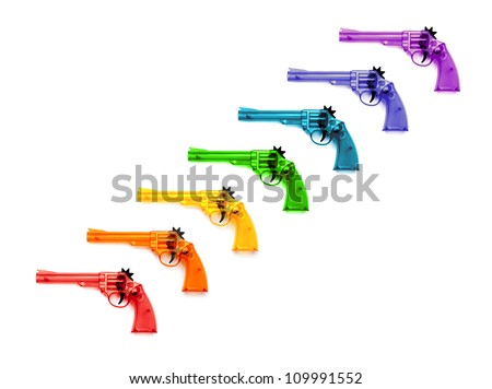 Colorful of plastic guns  for child , on a white background