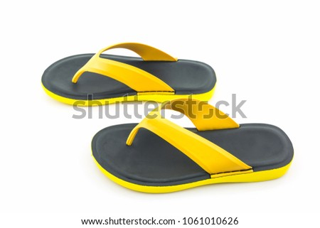 68fcbb4e10b Free photos Colorful of Sandals shoes   Yellow and black flip flops ...