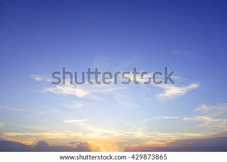 Colorful of sky with clouds in the evening:Select focus with shallow depth of field:Ideal use for background. #429873865