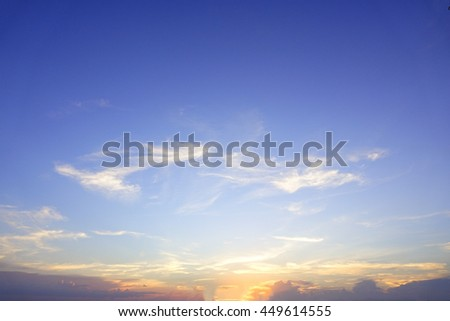 Colorful of sky with clouds in the evening:Select focus with shallow depth of field:Ideal use for background. #449614555