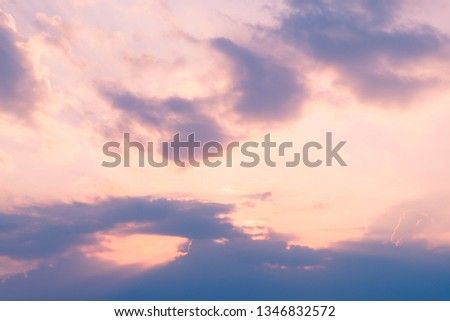 Colorful of skyscape with pink magenta yellow orange and blue shades exotic look like heaven #1346832572