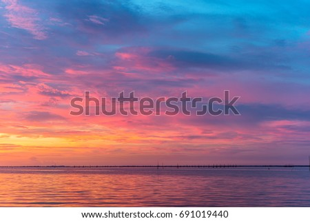Colorful of sunset time on the lake