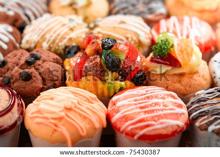 Colorful of tart with variety topping delicious and enjoy your snacks