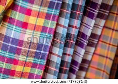 Colorful of Thai fabric call pa kao ma. Zdjęcia stock ©