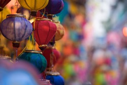 Colorful of tradition lanterns at street market in mid-autumn festival, many kind of beautiful lanterns hanging on street. Royalty high quality free stock image. Vietnam culture.