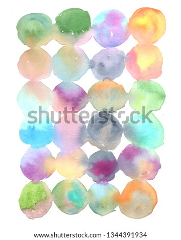 Colorful of watercolor painting as circle. Wet on wet, and wet on dry on white paper. Hand watercolor painting . Illustration