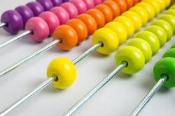 Colorful of wood abacus, selective focus