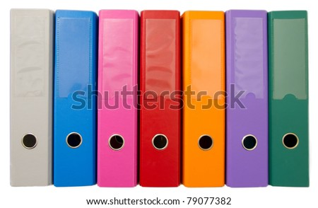 Colorful office folders isolated on white - stock photo