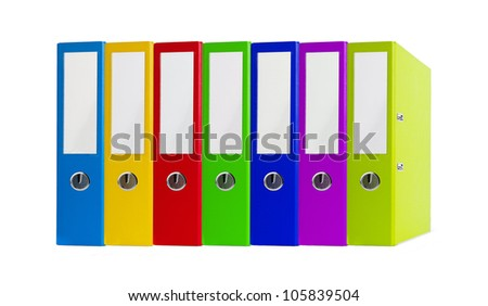 Colorful office folders isolated on white background