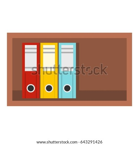 Colorful office folders on wooden shelf icon flat isolated on white background  illustration