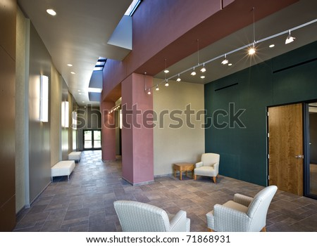 Colorful Office Lobby/ Colorful Office Lobby/ New office lobby with furniture