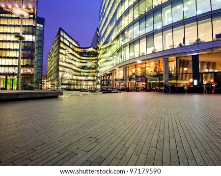 Colorful office park at dusk with copyspace