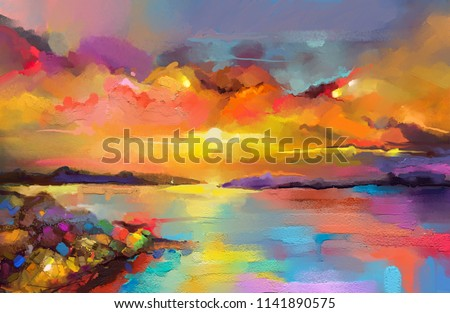 Colorful oil painting on canvas texture. Impressionism image of seascape paintings with sunlight background. Modern art oil paintings of sunset over sea and beach. Abstract contemporary art