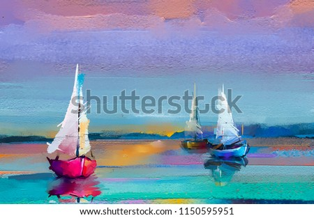 Colorful oil painting on canvas texture. Impressionism image of seascape paintings with sunlight background. Modern art oil paintings with boat, sail on sea. Abstract contemporary art for background