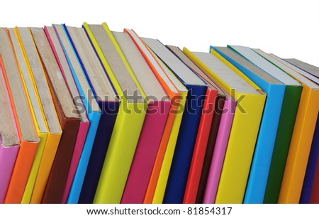 colorful old books isolated on white background