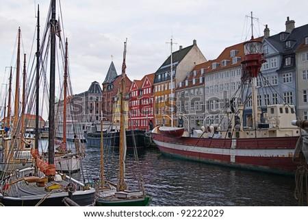 Colorful old houses in Copenhagen, Denmark. - stock photo