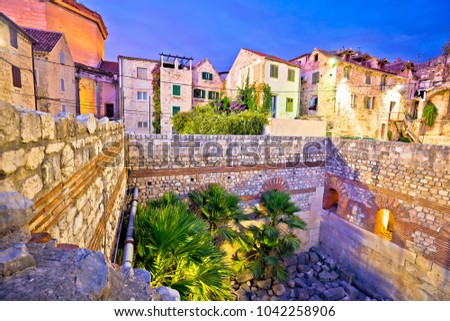 Colorful old stone street of Split historic city center dusk view, Dalmatia region of Croatia