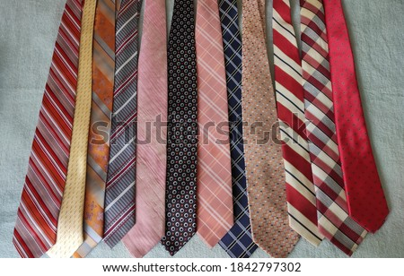Colorful old ties close up Stok fotoğraf ©
