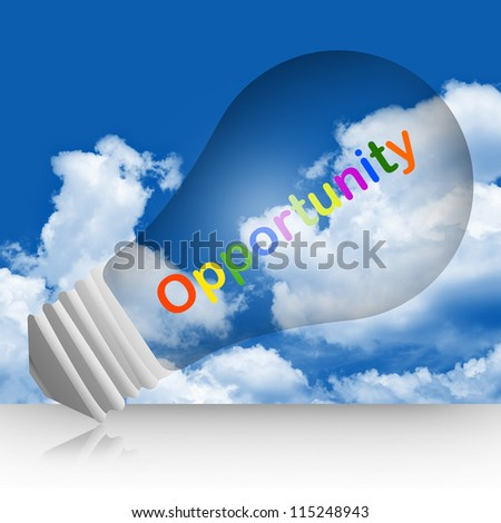 Colorful Opportunity Text Inside The Light Bulb For Opportunity Concept in Blue Sky Background