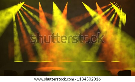 Colorful orange and green spotlights illuminating an empty stage at the start of a live performance shining down at oblique angles through a smoky atmosphere as 3D rendering