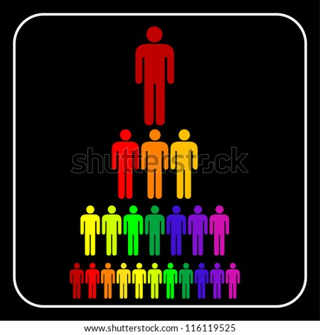 colorful Organizational corporate hierarchy business  man,