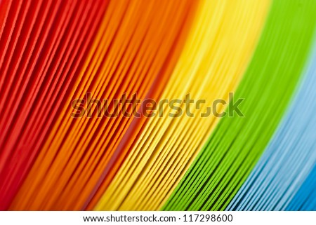 colorful origami paper stacked. High magnification macro
