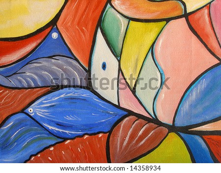 Colorful original oil painting showing a geometric fish