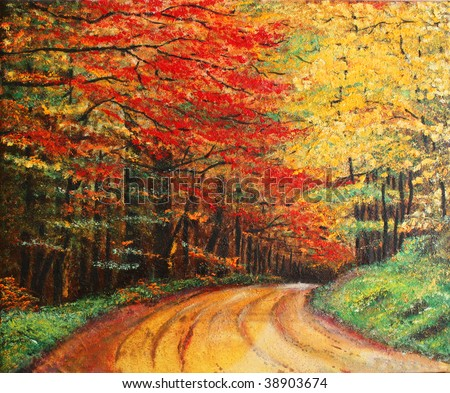Painting Image on Stock Photo   Colorful Original Oil Painting Showing A Road Forest