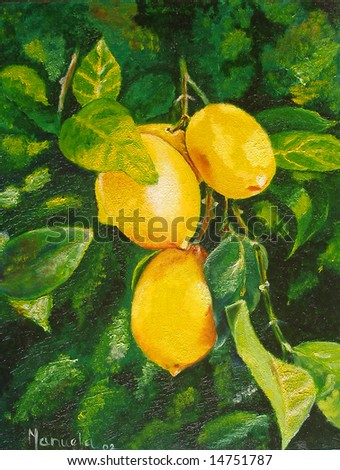 Original oil painting showing lemons hanging on the tree stock photo